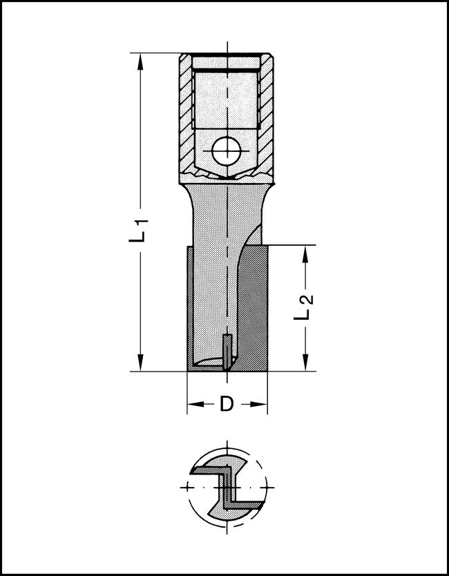 Nutfräser Z2 HW M12x1 18x60mm