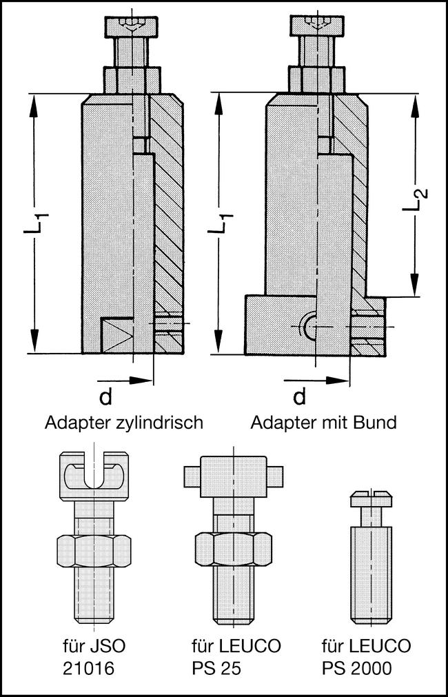 Adapter mit Bund d=12mm S=25x55mm